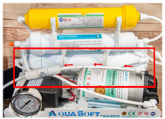 محل نصب محدود کننده فاضلاب در تصفیه آب خانگی Flow Restrictor in Reverse Osmosis Water Purifier